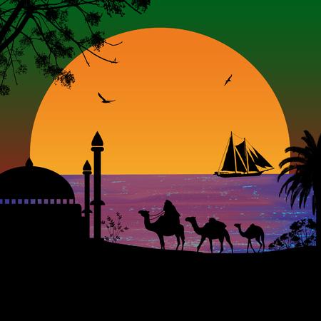 Camel caravan at green sunset on the beach, vector illustration
