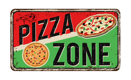 Pizza de la zona época signo de metal oxidado sobre un fondo blanco, ilustración vectorial