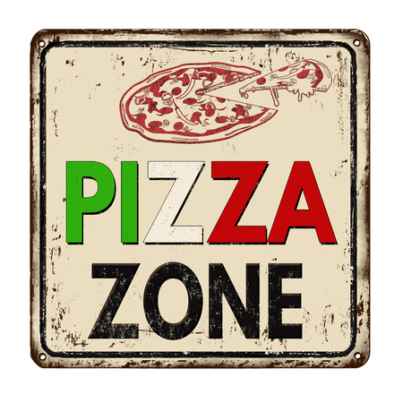 vintage sign: Pizza zone vintage rusty metal sign on a white background, vector illustration