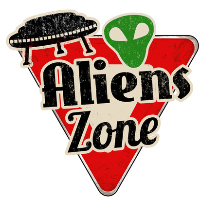 zona de alienígenas época signo de la carretera de metal oxidado sobre un fondo blanco, ilustración vectorial