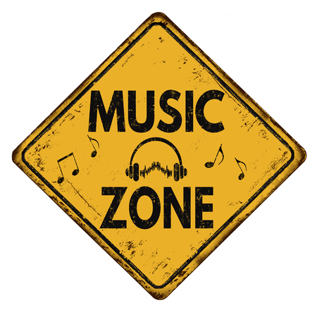 rusty metal: Music zone vintage rusty metal road sign on a white background, vector illustration Illustration