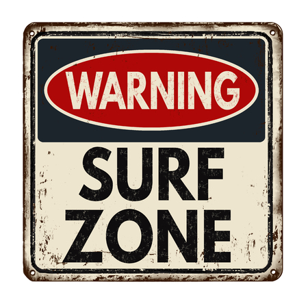funny surfer: Warning surf zone vintage rusty metal sign on a white background, vector illustration