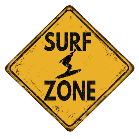 vintage sign: Surf zone vintage rusty metal sign on a white background, vector illustration Illustration