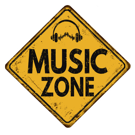 Music zone vintage rusty metal road sign on a white background, vector illustration