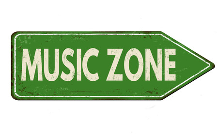 area: Music zone vintage rusty metal road sign on a white background, vector illustration Illustration