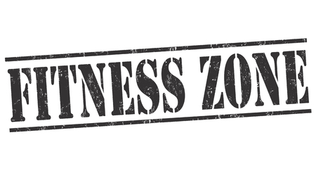 weight lifter: Fitness zone grunge rubber stamp on white background, vector illustration