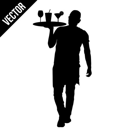 alcohol server: Waiter silhouette with the tray on white background, vector illustration