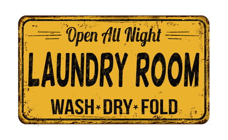 laundry room: Laundry room funny vintage rusty metal sign on a white background, vector illustration Illustration