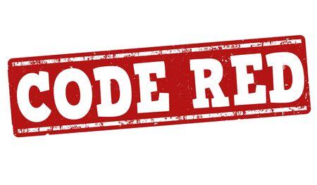 vulnerable: Code red grunge rubber stamp on white background, vector illustration Illustration