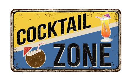 Cocktail zone cru signe métal rouillé sur un fond blanc, illustration vectorielle Vecteurs