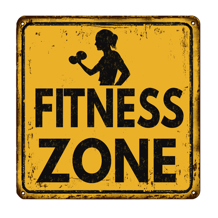 bodybuilding: Fitness zone vintage rusty metal sign on a white background, vector illustration