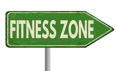 zone Fitness cru signe métal rouillé sur un fond blanc, illustration vectorielle