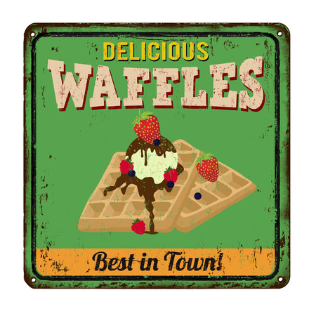 metal sign: Waffles vintage rusty metal sign on a white background Illustration