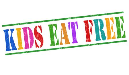 eat: Kids eat free grunge rubber stamp on white background