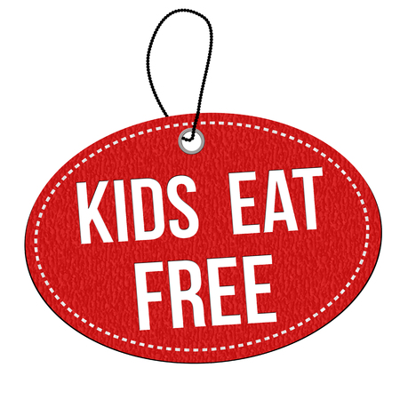 Kids eat free red leather label or price tag on white background