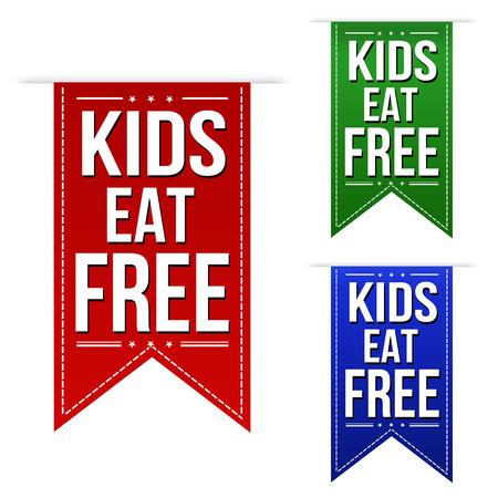 Los niños comen diseño de banners gratuito situado sobre un fondo blanco