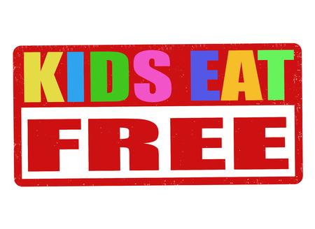 Kids eat free grunge rubber stamp on white background