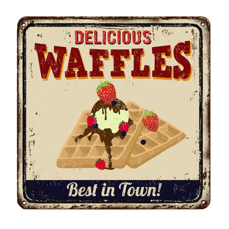 waffles: Gofres época signo de metal oxidado en un fondo blanco Vectores