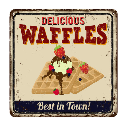 Waffles vintage rusty metal sign on a white background