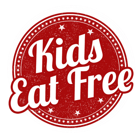 Kids eat free grunge rubber stamp on white background