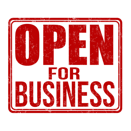 Open for business grunge rubber stamp on white background, vector illustration Vettoriali