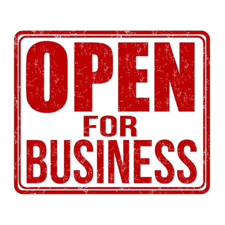 Open for business grunge rubber stamp on white background, vector illustration Illustration