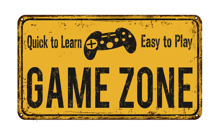areas: Game zone vintage rusty metal sign on a white background, vector illustration