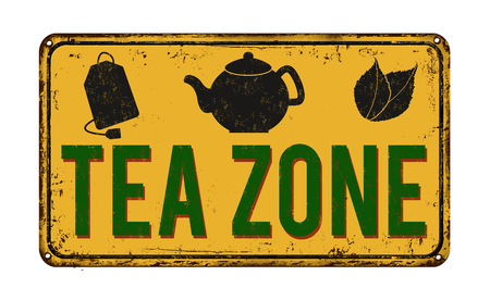 rusty metal: Tea zone vintage rusty metal sign on a white background, vector illustration Illustration