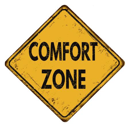 Comfort-zone vintage roestig metaal teken op een witte achtergrond, vector illustratie