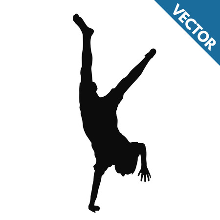 Child silhouette doing cartwheels on white background, vector illustration  イラスト・ベクター素材