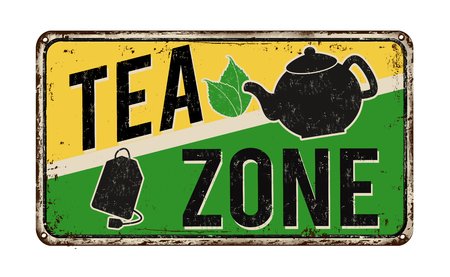 vintage sign: Tea zone vintage rusty metal sign on a white background, vector illustration Illustration
