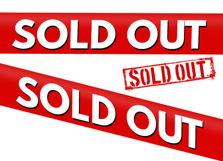 temporarily: Sold out red bent stickers and stamp on white background, vector illustration Illustration