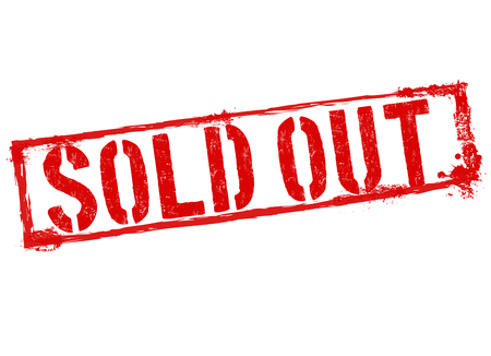 temporarily: Sold out red grunge rubber stamp on white background, vector illustration