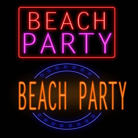 beach party: Beach party glowing neon sign on black background