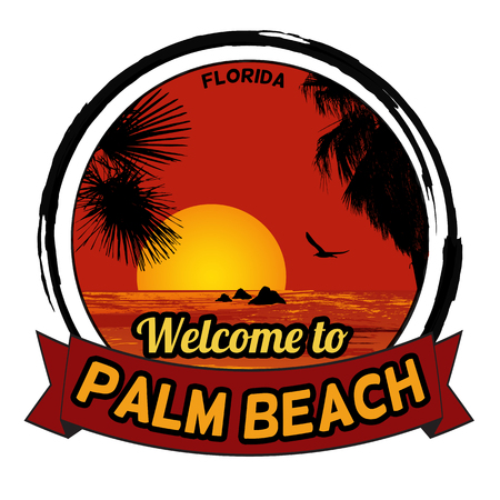 Welcome to Palm Beach concept in vintage graphic style for t-shirt and other print production on white background, vector illustration
