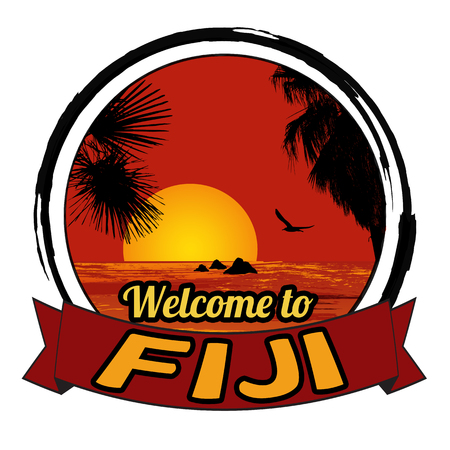 tittle: Welcome to Fiji concept in vintage graphic style for t-shirt and other print production on white background, vector illustration Illustration