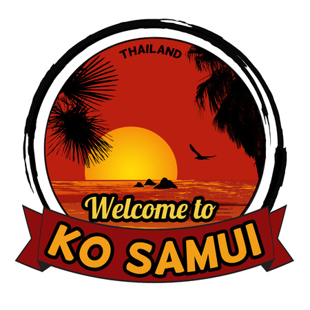 samui: Welcome to Ko Samui concept in vintage graphic style for t-shirt and other print production on white background, vector illustration