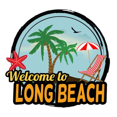 spiaggia: Benvenuti al concetto di Long Beach in stile grafico vintage per t-shirt e altri produzione di stampe su sfondo bianco, illustrazione vettoriale