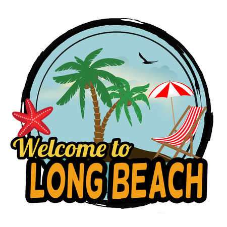 beach: Welcome to Long Beach concept in vintage graphic style for t-shirt and other print production on white background, vector illustration Illustration