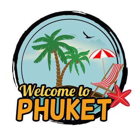 Welcome to Phuket concept in vintage graphic style for t-shirt and other print production on white background, vector illustration
