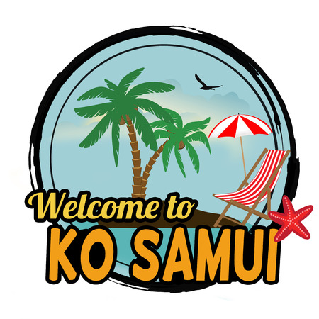 ko: Welcome to Ko Samui concept in vintage graphic style for t-shirt and other print production on white background, vector illustration