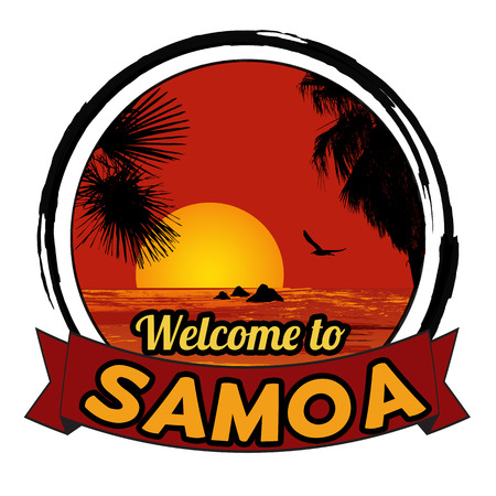 tittle: Welcome to Samoa concept in vintage graphic style for t-shirt and other print production on white background, vector illustration Illustration