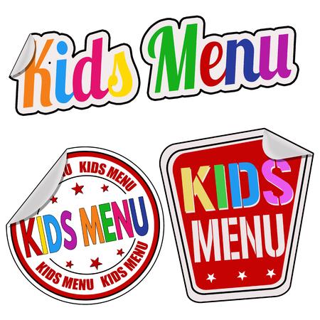 white sticker: Kids menu sticker set on white background, vector illustration Illustration