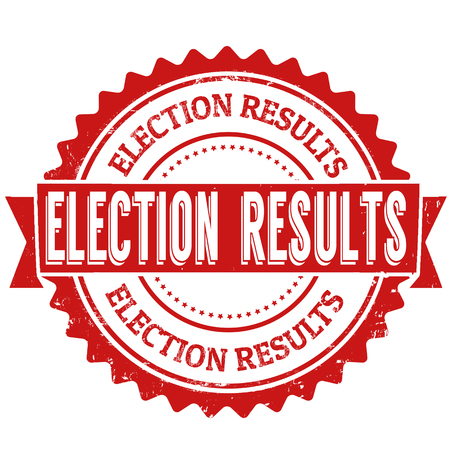 Election results grunge rubber stamp on white backround, vector illustration