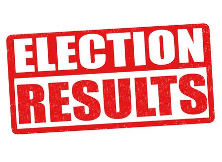 Resultados de las elecciones grunge sello de goma en antecedentes blanco, ilustración vectorial