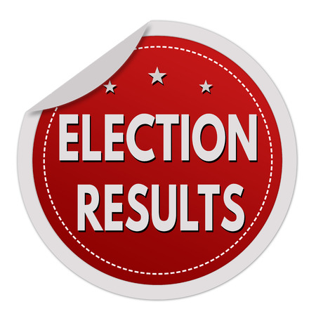 outcome: Election results red sticker on white background, vector illustration Illustration