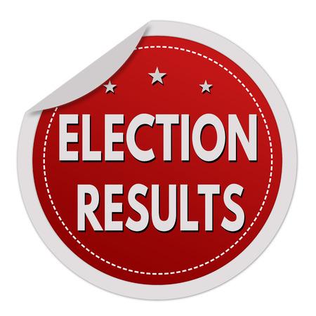 Résultats des élections autocollant rouge sur fond blanc, illustration vectorielle Vecteurs