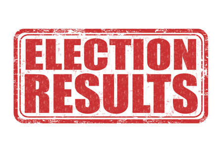 turnout: Election results grunge rubber stamp on white backround, vector illustration Illustration