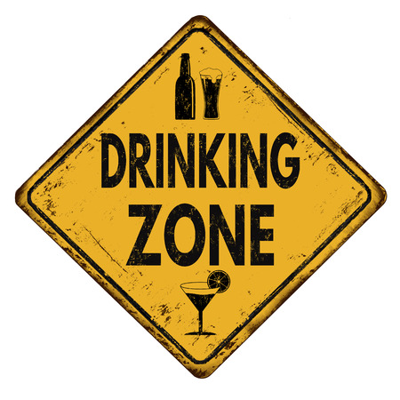 tomando alcohol: Drinking zone vintage rusty metal sign on a white background, vector illustration Vectores