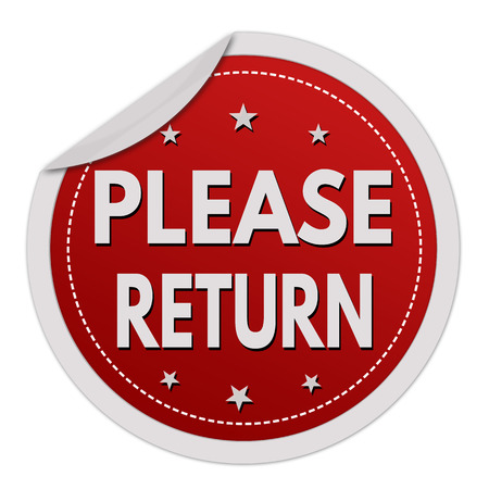 return: Please return grunge rubber stamp on white background, vector illustration